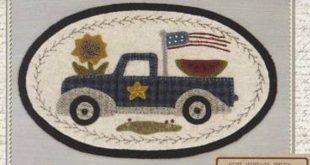 Primitive Folk Art Wool Applique Pattern - MIni Vintage Truck Thru the Year BOM ...