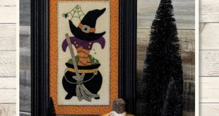 Primitive Folk Art Wool Applique Pattern: SPOOKY CAULDRON - A Buttermilk Basin Design