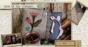 Primitive Folk Art Wool Applique Pinkeep Pattern - Buttermilk Basin - Year of Pinkeeps - May Flowers