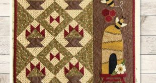 Primitive Folk Art Wool Applique Quilt Pattern: WOOL & COTTON (JUNE) - A Buttermilk Basin design