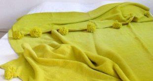 RESERVED for Debbie Gould Large Moroccan Pom Pom Wool Blanket Green 2019 Lar  20...