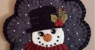 Snowman Wool Felt Applique Kit Penny Rug Kit, Hand Embroidery Kit, Felt Craft Embroidery Pattern, Snowman Wool Applique, In The Meadow