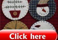 The Wooden Acorn: TDIPT MERCANTILE Wool Applique Folk Art Penny Rug Mat and Ch ...
