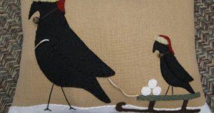 Time to Build a Snowman....Primitive Crows Christmas Wool Applique Pillow
