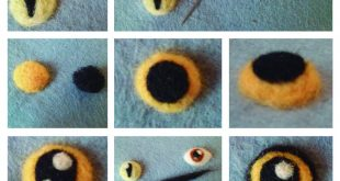 Tutorial Ojos Lana Afieltrada Persona - Gato - Búho Needle Felting Eyes Tutoria...