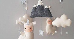 Unique Baby Mobile - Llamacorn - Crib Mobile Nursery - Llama Mobile - Cloud baby mobile - Stars Nursery decor - Unicorn Baby Mobile