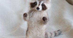 Waschbär Nadel gefilzt Baby, Wald Baby Tier, Wolle Wald-Dekor, 4 bis 5 Zoll