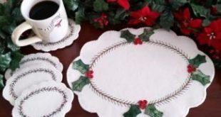 Wool Applique Pattern, Christmas Wool Applique Pattern, Holly Wool Applique, Woo...