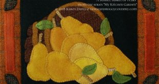 "Wool Applique Pattern Kit ""Bushel Basket of Pears"" from the series ""My Kitchen Garden"" hand dyed wool felted wool felt wool quilt block"