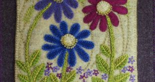 "Wool Applique Pattern Kit ""Purple on the Prairie"" wall hanging wild flowers quilt block"