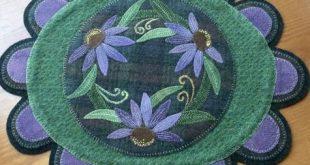 Wool Applique Purple Coneflower #felting