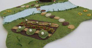 Wool Felt Playscape Play Mat Map Pretend Landscape Woodland for Children