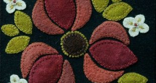 "Wool applique PDF e-PATTERN BOM ""Late Berries"" one block of 24 ""Four Seasons of Flowers"" table runner bed runner wall hanging wool quilt"
