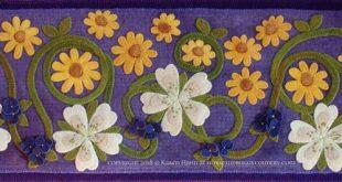 "Wool applique Pattern Kit Black Eyed Susans ""Singing in the Sunshine"" table runner folk art hand dyed rug hooking wool"
