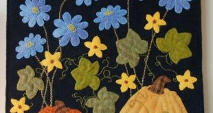 "Wool applique pattern ""Pumpkins Under the Chicory"" autumn fall wall hanging"