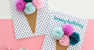 birthday cake crafts, dotted paper, ice cream, colorful pompom made of yarn, p …