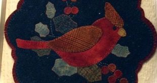 pattern is Winter Cardinal by Lake View Primitives, made by Red House Wool…