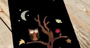 wool felt owl, tree and moon by lynnette