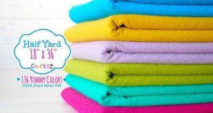 """1/2 Yard of Merino Wool Felt - 18"""" X 36"""" - 100% Wool Felt by the Yard - You Choose your Color - Wool Felt by the yard - FINAL"""