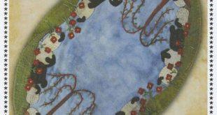 Primitive Folk Art Wool Applique Pattern - Greener Pastures Table Mat - Primitive Gatherings