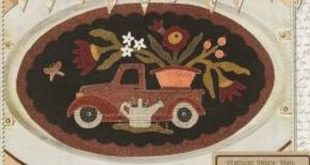 Primitive Folk Art Wool Applique Pattern - Vintage Truck Thru the Year BOM - MAY Vintage Truck Flower Basket Watering Can Butterfly