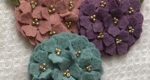 2 Inch Wool Felt Hydrangea