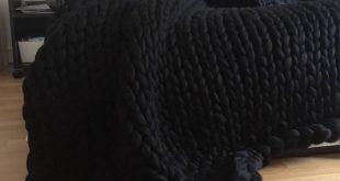 Black Chunky knit blanket, Merino wool, Wool throw, Chunky blanket, Giant knit b...