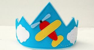 Boys 100% Merino Wool Felt  Airplane with Clouds Crown via Etsy