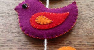 Colorful felt birds wall hanging / door hanging (8 puffy birds) - made to order