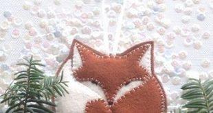 FELT FOX ornament - tree ornament - handcrafted from 100% wool felt - Christmas ...