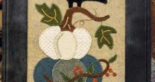 Fall Applique Patterns - Wool Applique Patterns - White Pumpkins and Crow Applique Pattern - #BMB 1695