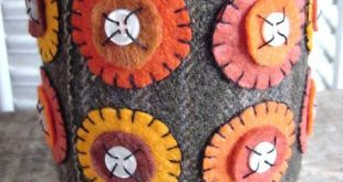Fall Harvest Autumn Wool Penny Rug Style Wool Felt Candle Wrap  CAPS Team  FT  T...