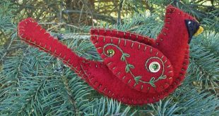 Felt Bird Pattern, Cardinal Ornament Pattern Download, Felt Cardinal Sewing Pattern, PDF Cardinal Ornament Pattern, Sewing Supply