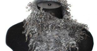 Felted Scarf Short Raw Wool Undyed Ahimsa Fur by FeltedPleasure, $79.00