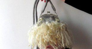 Felted handbag Grey Fur curly locks purse raw wool von galafilc, $89.00