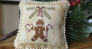 Finished, Gingerbread Man Cross Stitch Pillow, Small Bowl Filler, Tuck Pillow