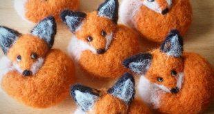 Fuchs Nadel gefilzt Brosche Miniatur Filz Tier Wolle Abzeichen Pin Geschenk gelockt Wald