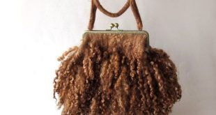 Fur purse Felted handbag beige brown Real Fur curly locks purse raw wool Free curly bag gift for her by Galafilc