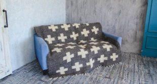Gray Swiss Cross Wool Blanket Queen Size Hand Woven Throw Modern Home Decor Bed ...
