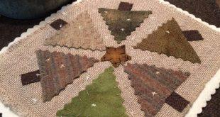 """Green trees """"wool applique pattern"""" by Ewe+Us wool on linen"""