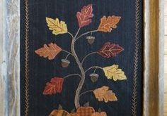 Holly & Ivy, Autumn Splendor, Wool applique wall hanging Pattern or Kit