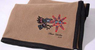 "Israel Shotridge© ""Raven"" Trail Wool Blanket|NW Tribal Coast Designs"