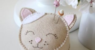 Miss Molly and Friends Pin Cushion Trio - PDF Felt pincushion sewing pattern - wool felt pincushions, hand embroidery