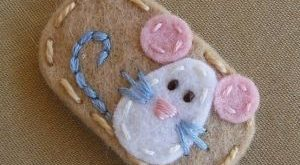 Mouse Champagne Wool Felt Baby Snap Hair Clip - etsy by catherine