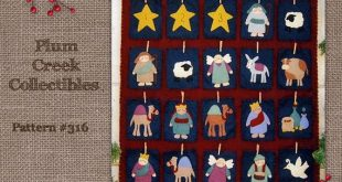 Nativity Advent Calendar Pattern. Religious Christmas Decoration, Wool felt Applique pattern, Woolfelt embroidery, felt manager scene