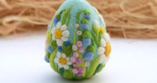 Needle Felted Eggs Easter Decor Easter Ornament Felt Wool Home Decoration Flower Spring Wreath