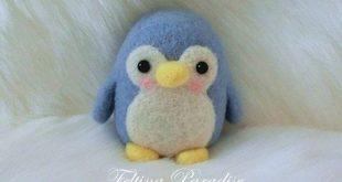 Needle Felted Penguin Buddy/Wool Felted Penguin/ wool felted animal/ wool felted...