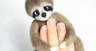Needle Felted Sloth, Sloth stuffed animal, Felted wool animals, Felt sloth doll, Exotic forest animal toy