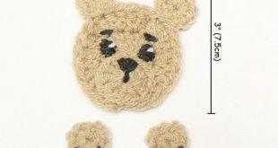 Oso de peluche applique, crochet Bear Hat applique, motivo animal, cosido en apliques, ropa de niños, artículos de artesanía, applique hecho a mano, oso pardo