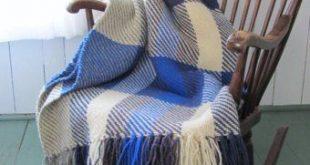 Plaid Wool Blanket, Tartan Hand Woven Sofa Throw Blanket, Blue Rustic Cabin Beach Cottage Modern Farmhouse Bedroom Decor Twill Camp Throw